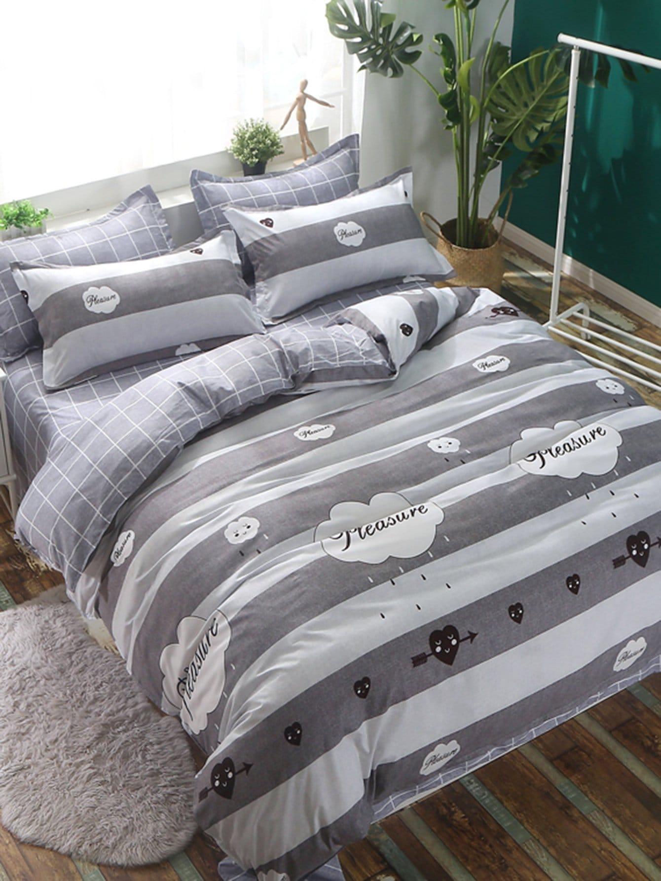Купить Комплект полосатого постельного белья с принтом погоды, null, SheIn
