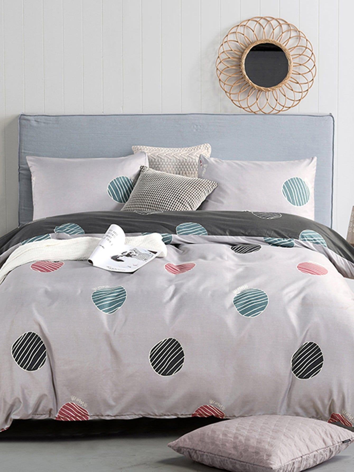Купить Комплект полосатого постельного белья в горошек, null, SheIn