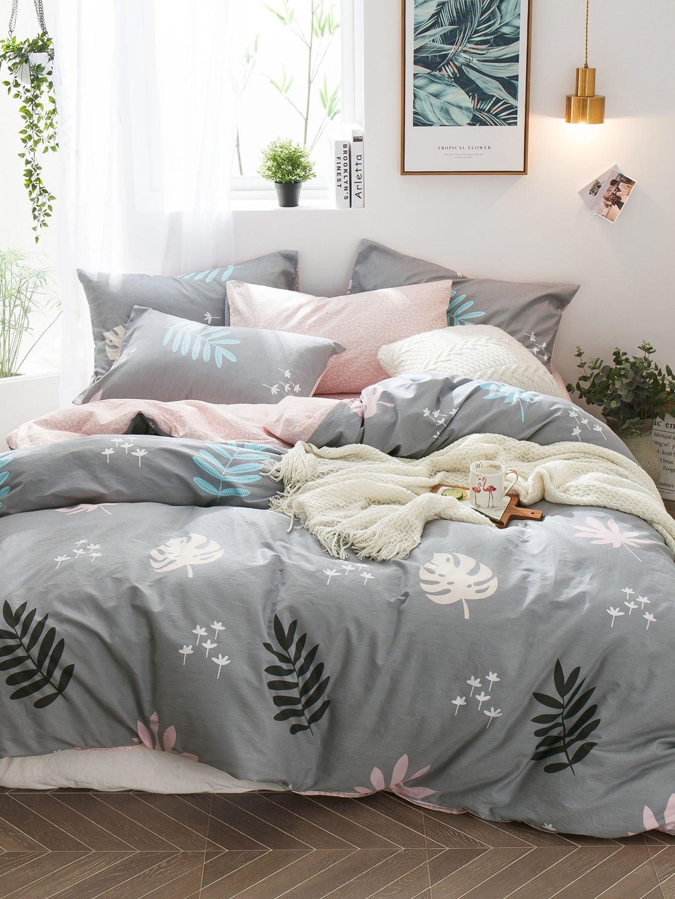 Купить Комплект постельного белья с принтом листьев, null, SheIn
