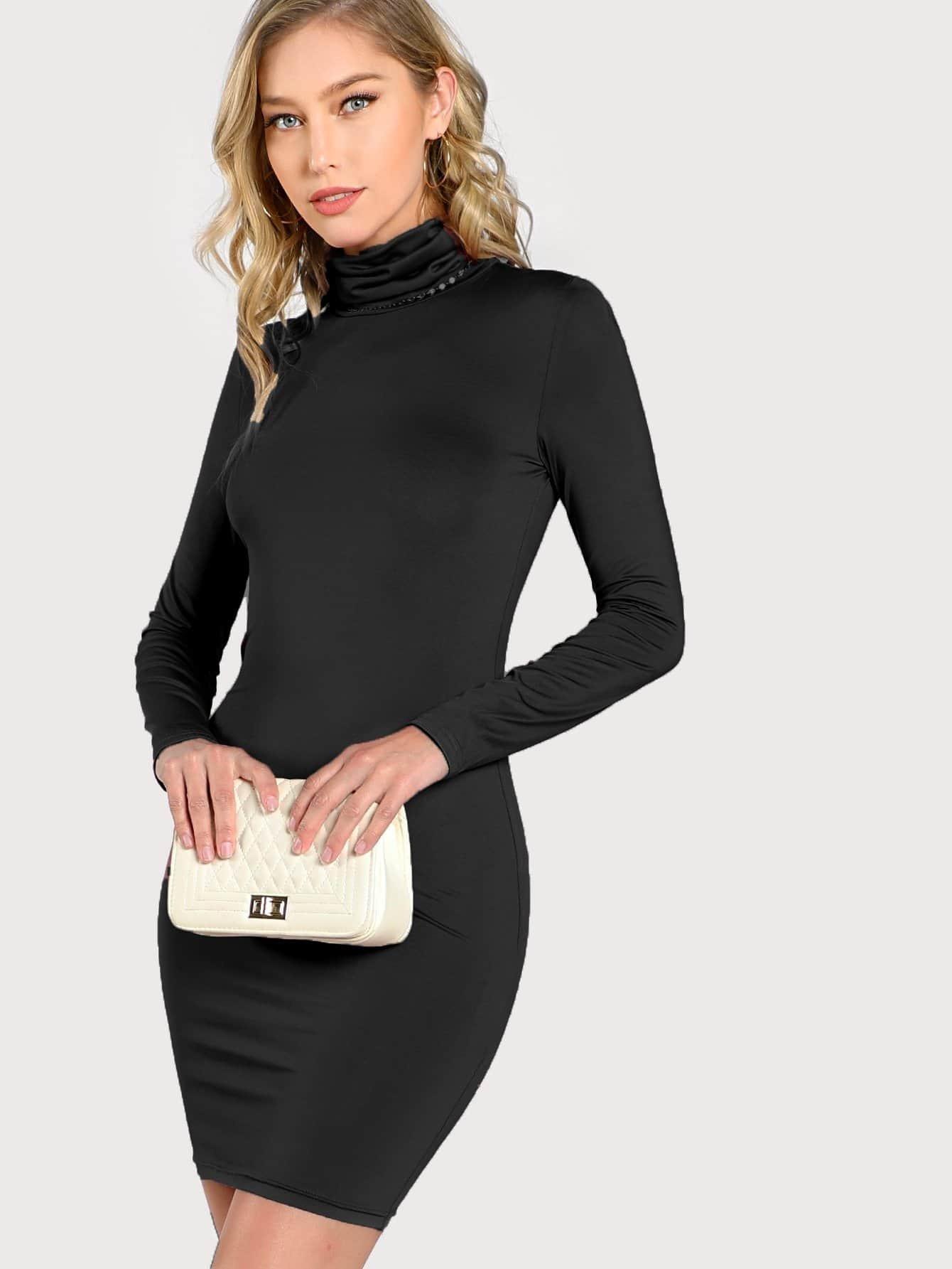 Купить Облегающое платье с высоким воротником, Meagan Lee, SheIn