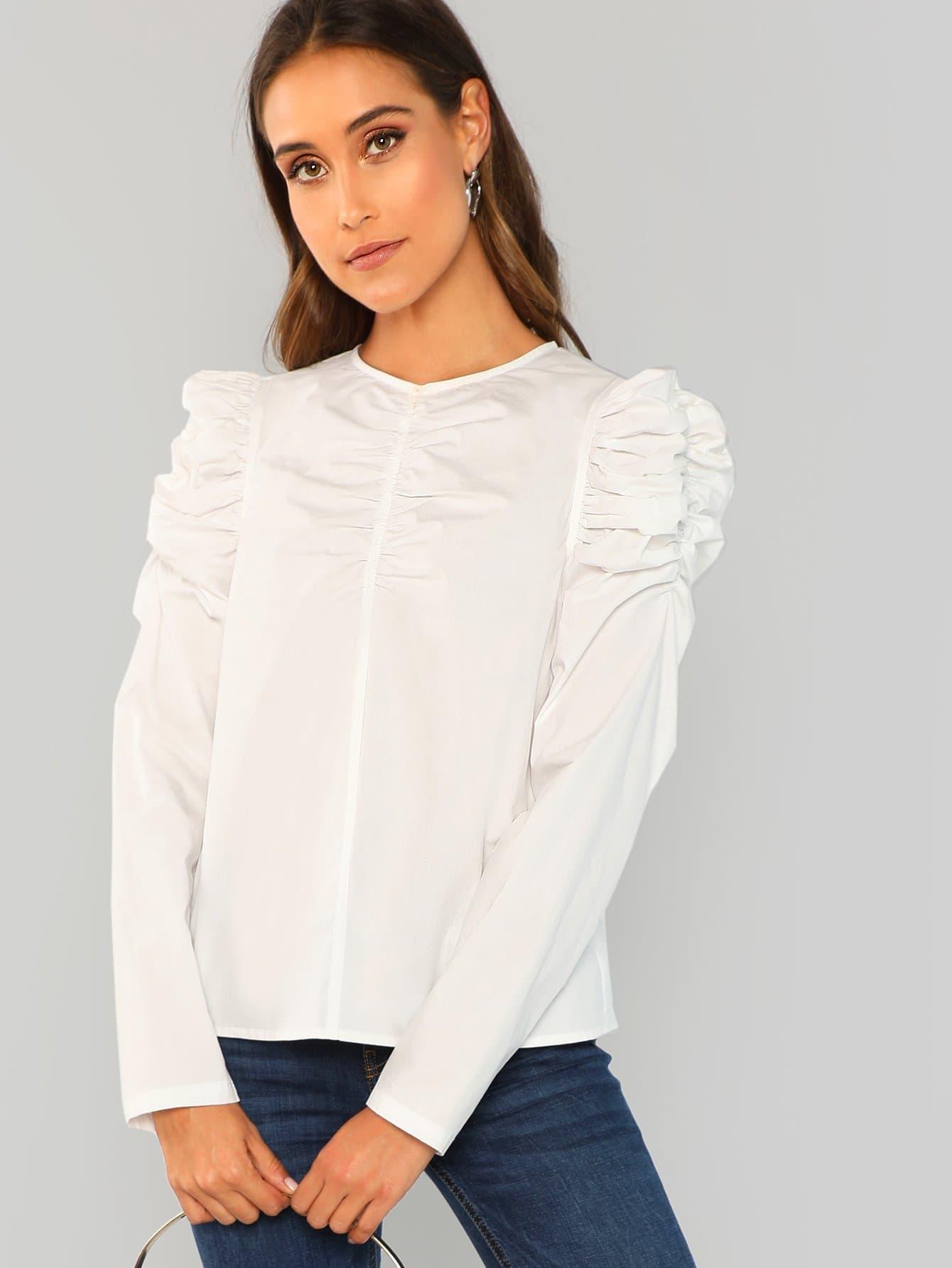 Купить Блуза с рукав-фонариками, Anna Herrin, SheIn