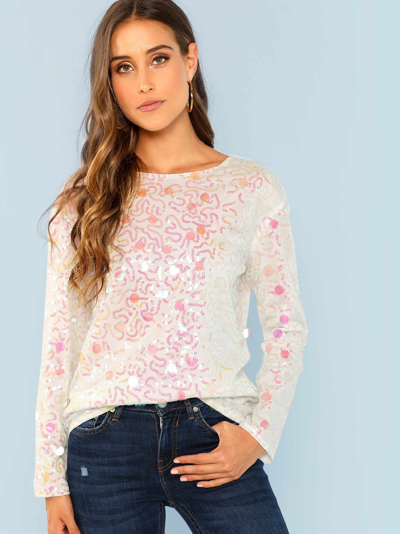 Купить Прозрачная блузка с блестками, Anna Herrin, SheIn