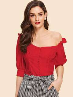Button Front Square Neck Ruffle Top