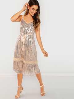 Frill Trim Ruffle Hem Glitter Cami Dress