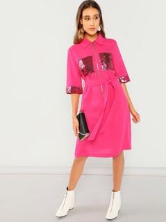 Neon Pink O-Ring Zip Half Placket Sequin Detail Slit Dress
