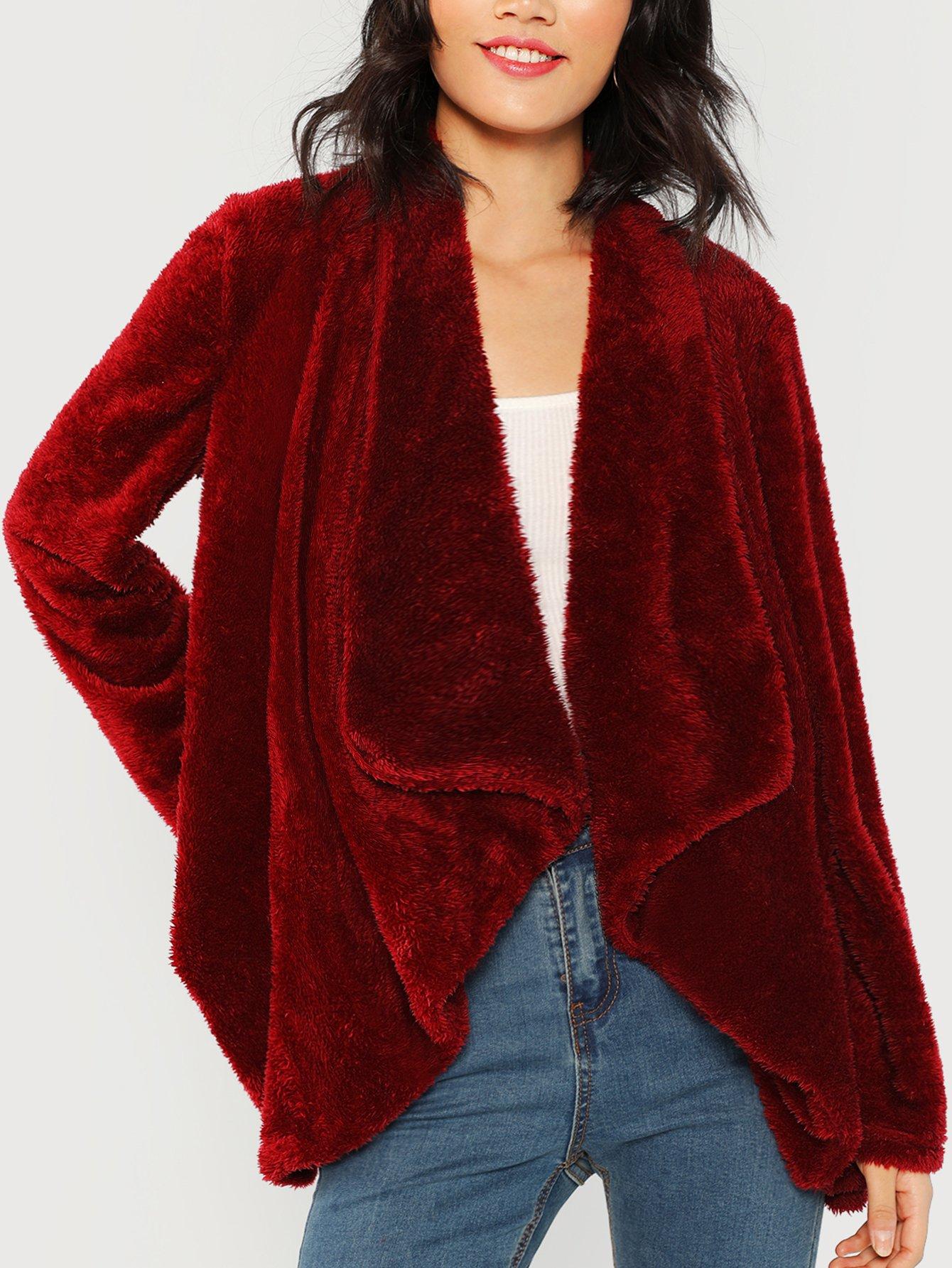 Купить Тедди пальто из искусственных кож с вырезом водопада, Meng Zheng, SheIn