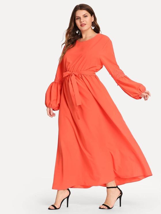 Neon Orange Plus Floral Lace Applique Lantern Sleeve Dress
