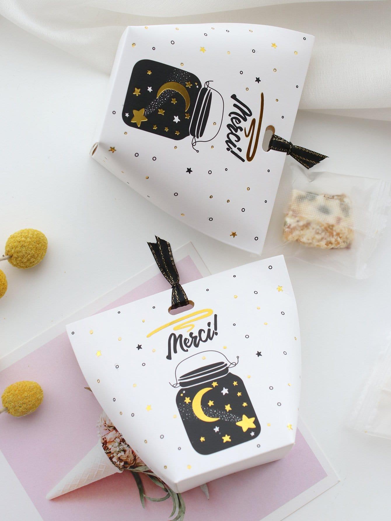 Купить Звезды и луны коробка с лентой 10шт., null, SheIn