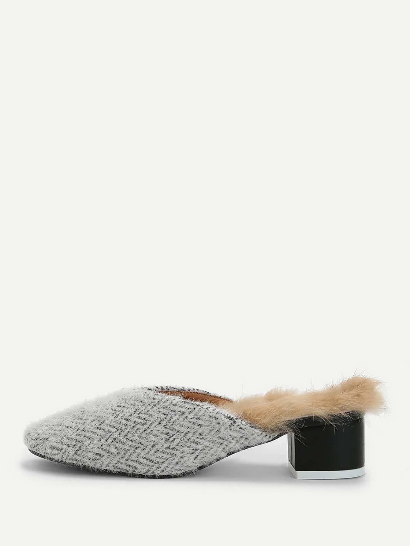 Купить Шлёпанцы на высоких каблуках с искусственным мехом, null, SheIn