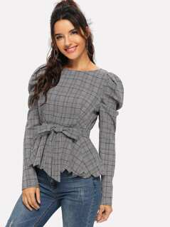 Puff Sleeve Scallop Glen Plaid Belted Blouse