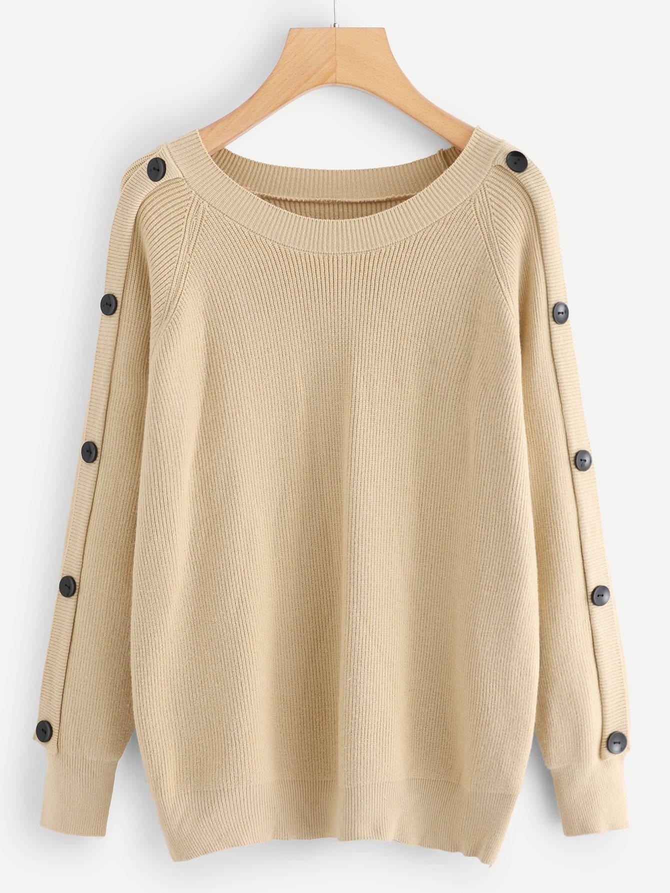 Купить Простая блуза с украшением пуговицы, null, SheIn