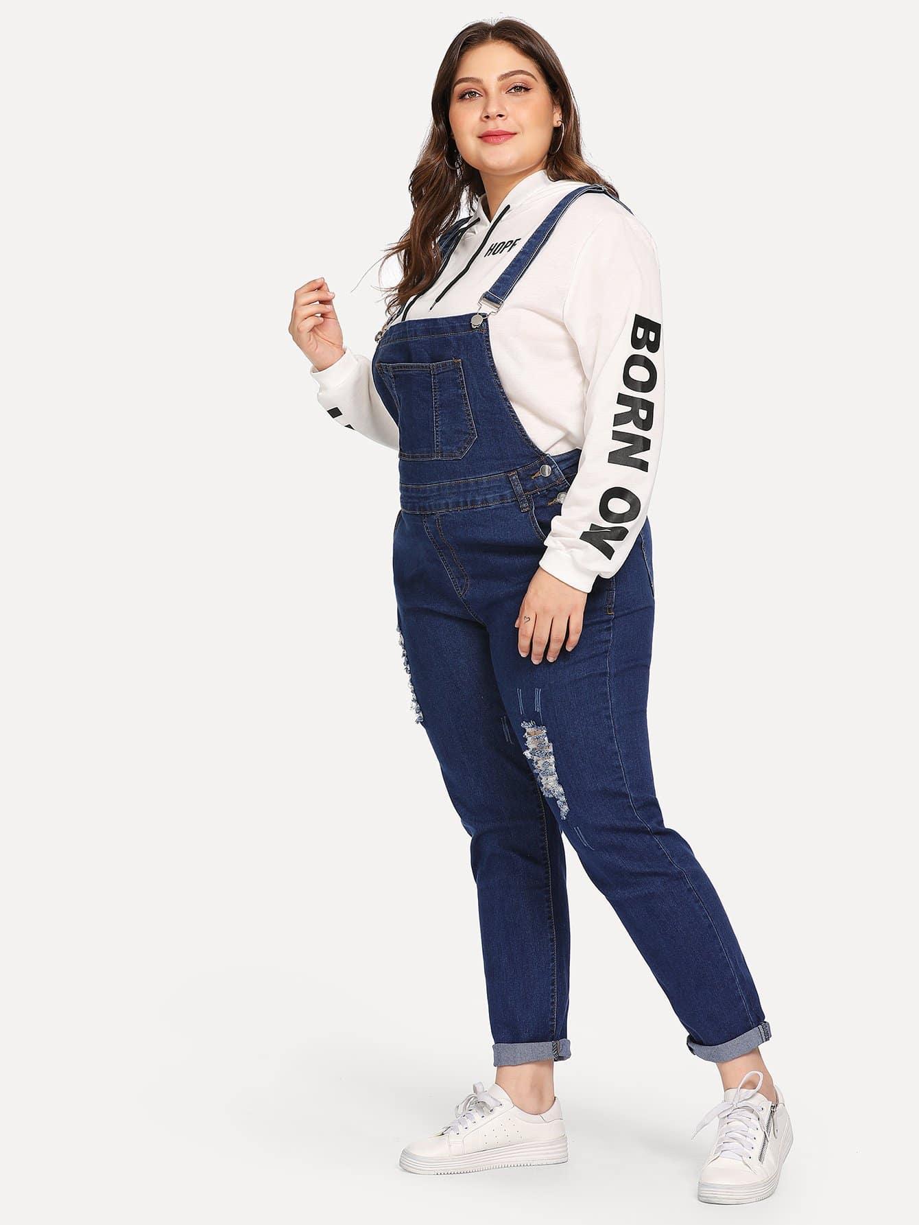Купить Плюс размеры рваный джинсовый передник комбинезон, Carol, SheIn