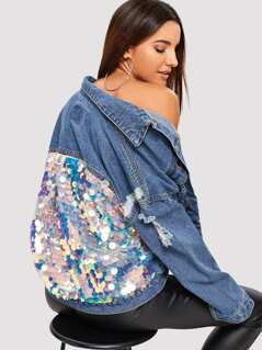 Sequin Contrast Drop Shoulder Denim Jacket