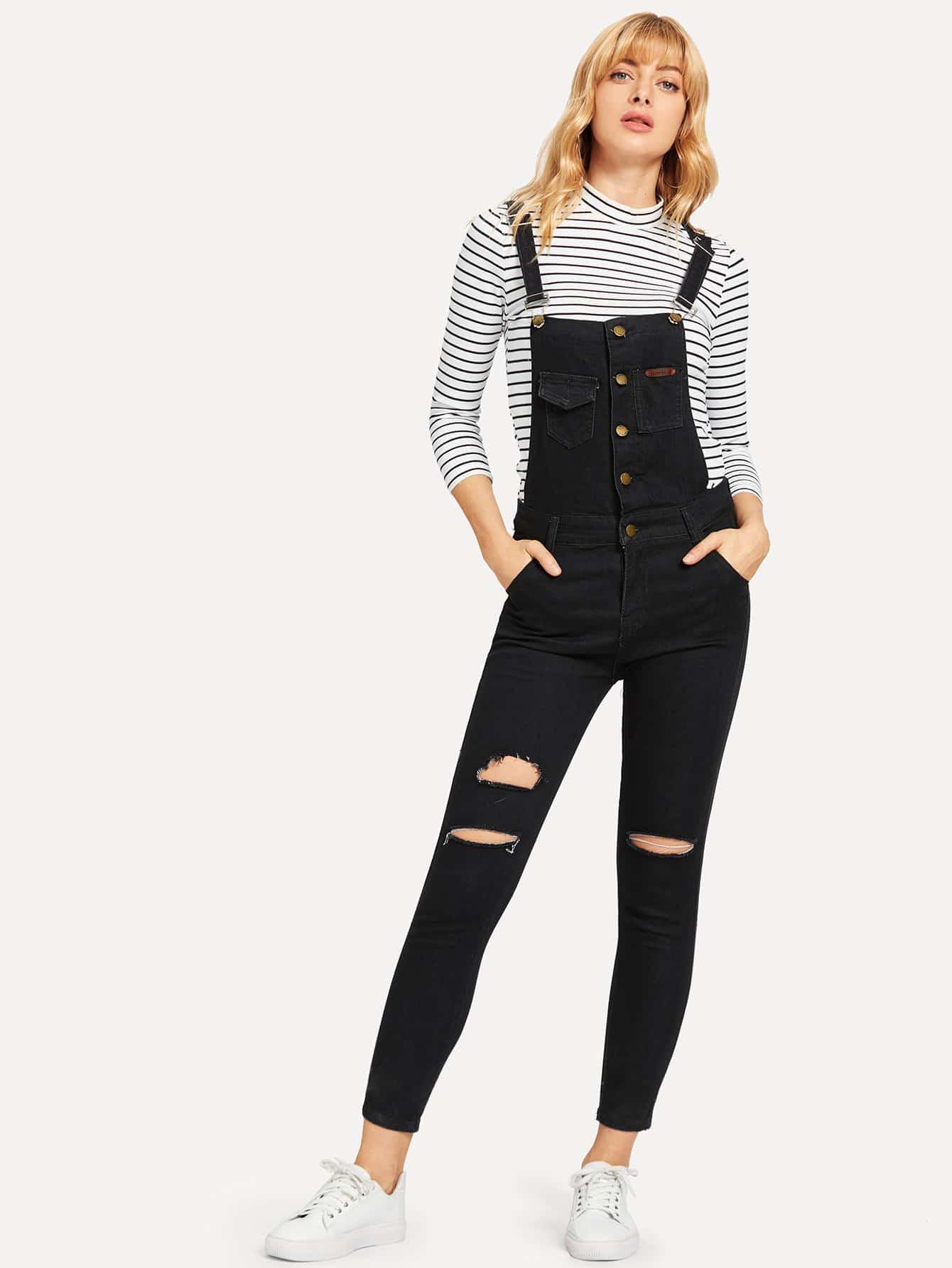 Рваный джинсовый комбинезон, Masha, SheIn  - купить со скидкой