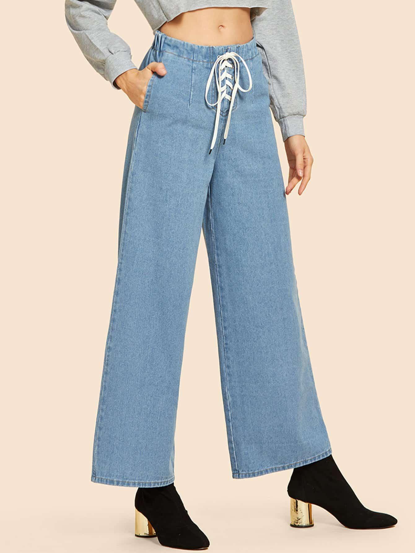 Купить Широкие ножные джинсы с шнурками, Masha, SheIn
