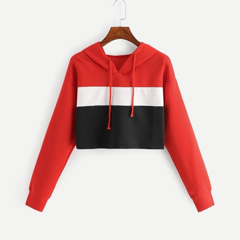 Colorblock Crop Hoodie, Multicolor