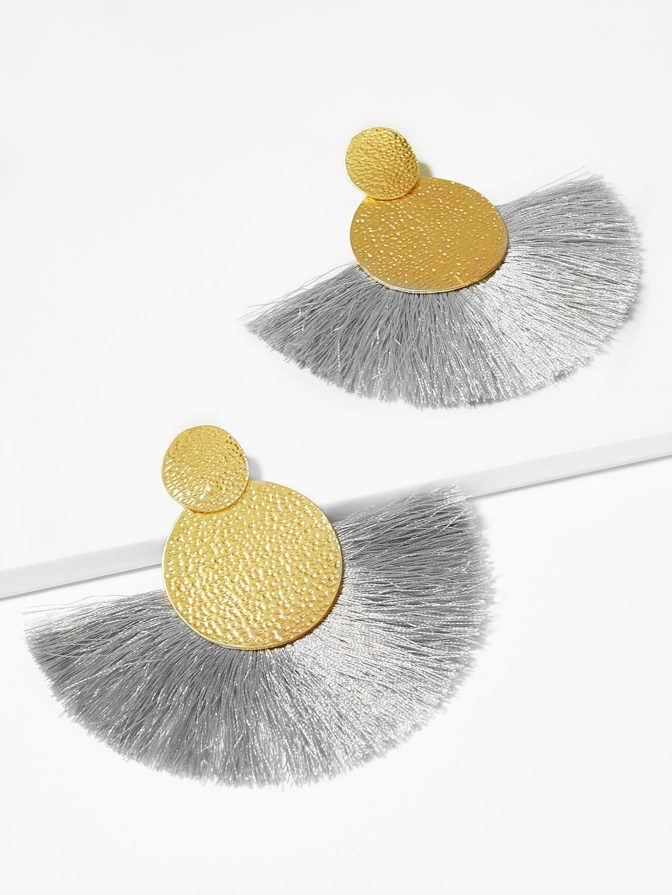 Текстурированные круглые серьги с подвеской веерооброзной бахромы