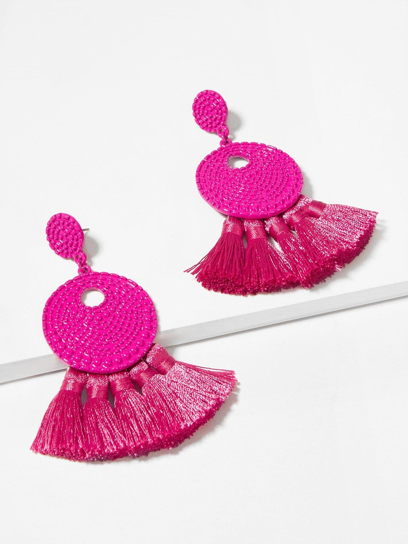 Текстурированные круглые серьги с подвеской бахромы