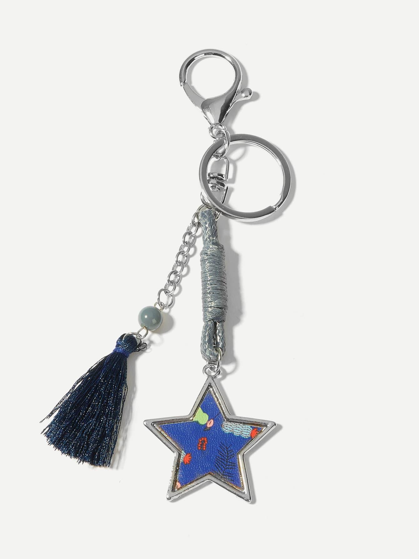 Купить Брелок для ключей с украшением звезды и бахромы, null, SheIn