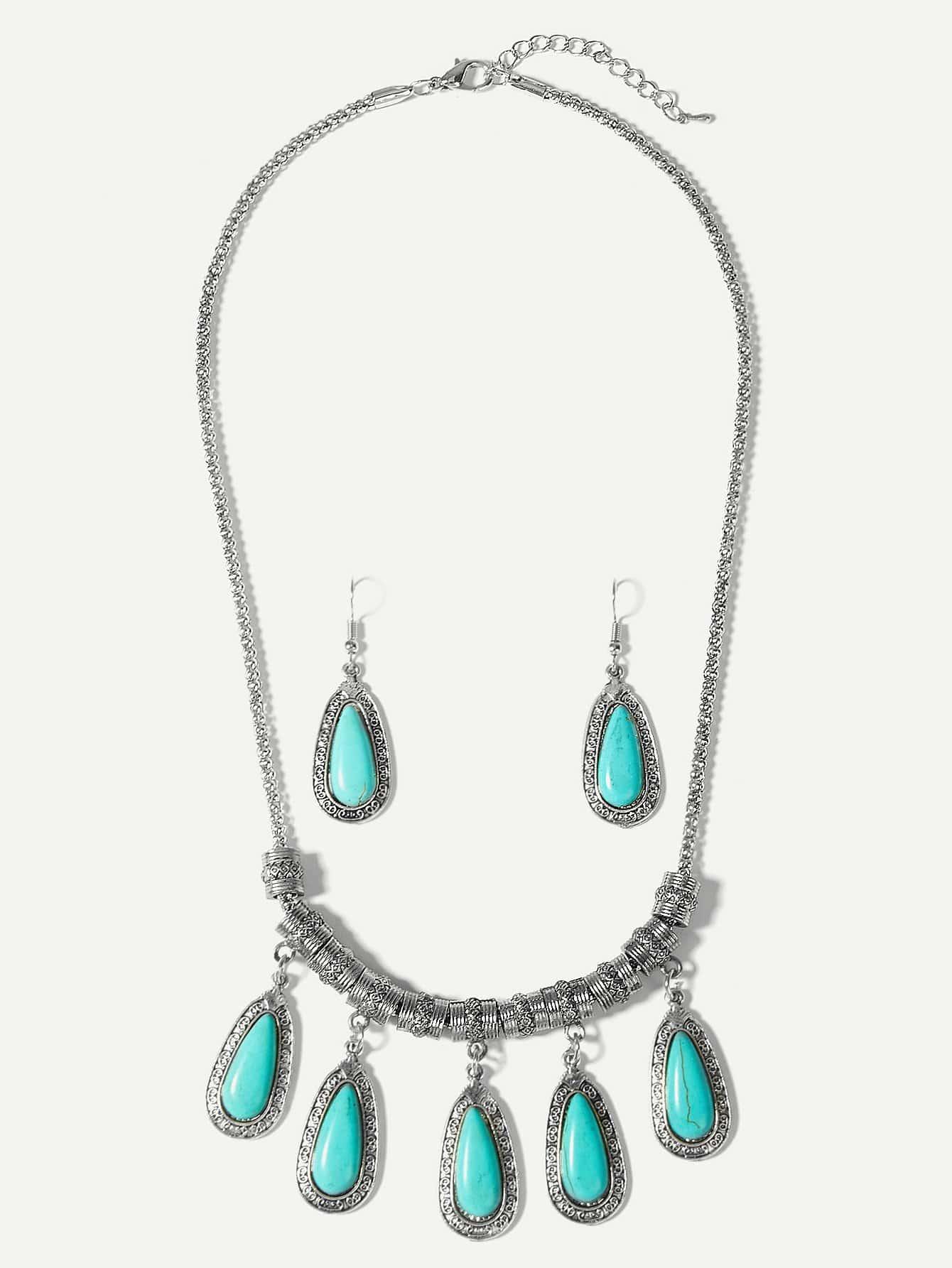 Ожерелье с подвеской капли воды и серьги, null, SheIn  - купить со скидкой