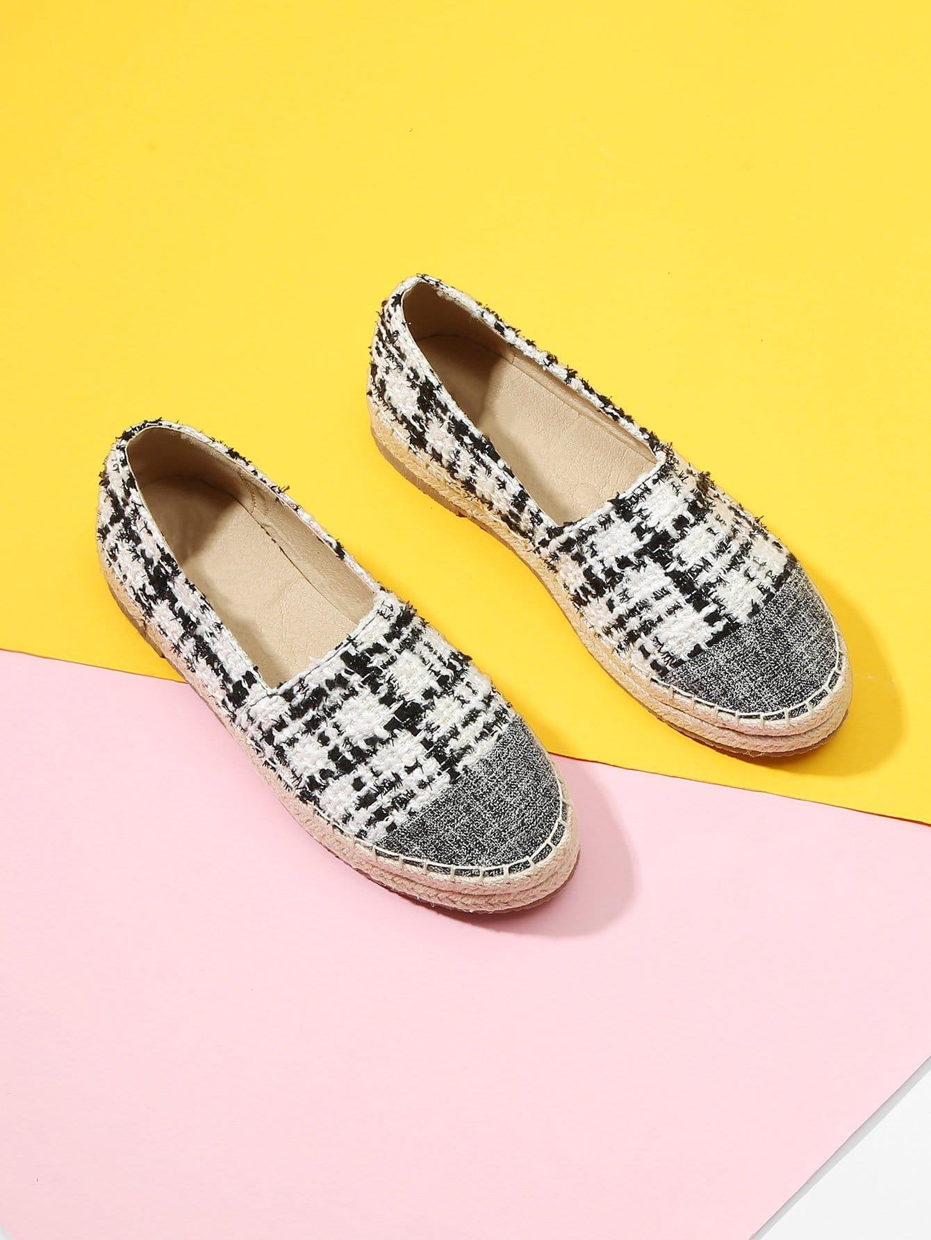 Купить Туфли на плоской подошве из твида, null, SheIn