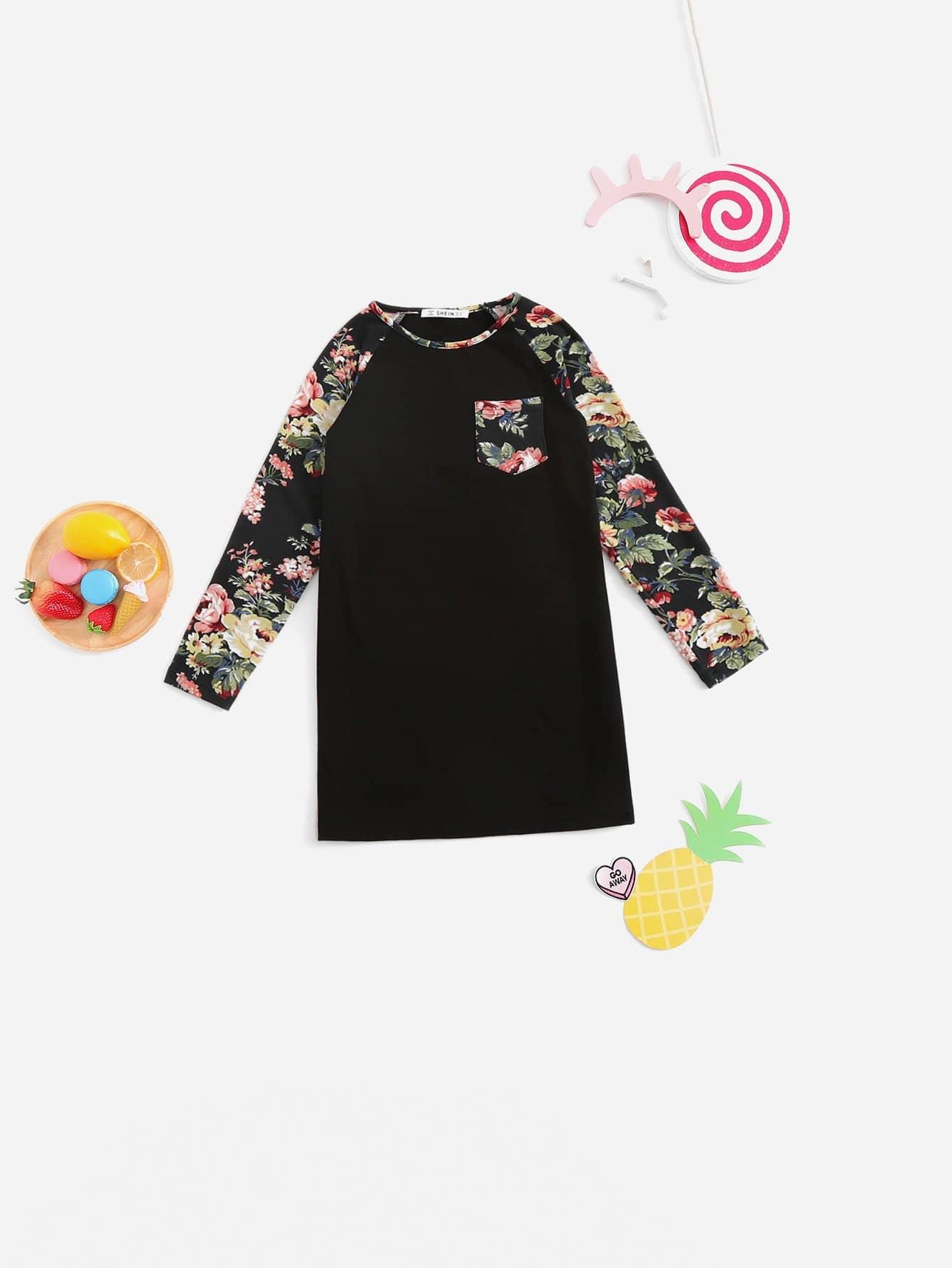 Для девочек цветочное туника платье с рукавом-регланом от SheIn