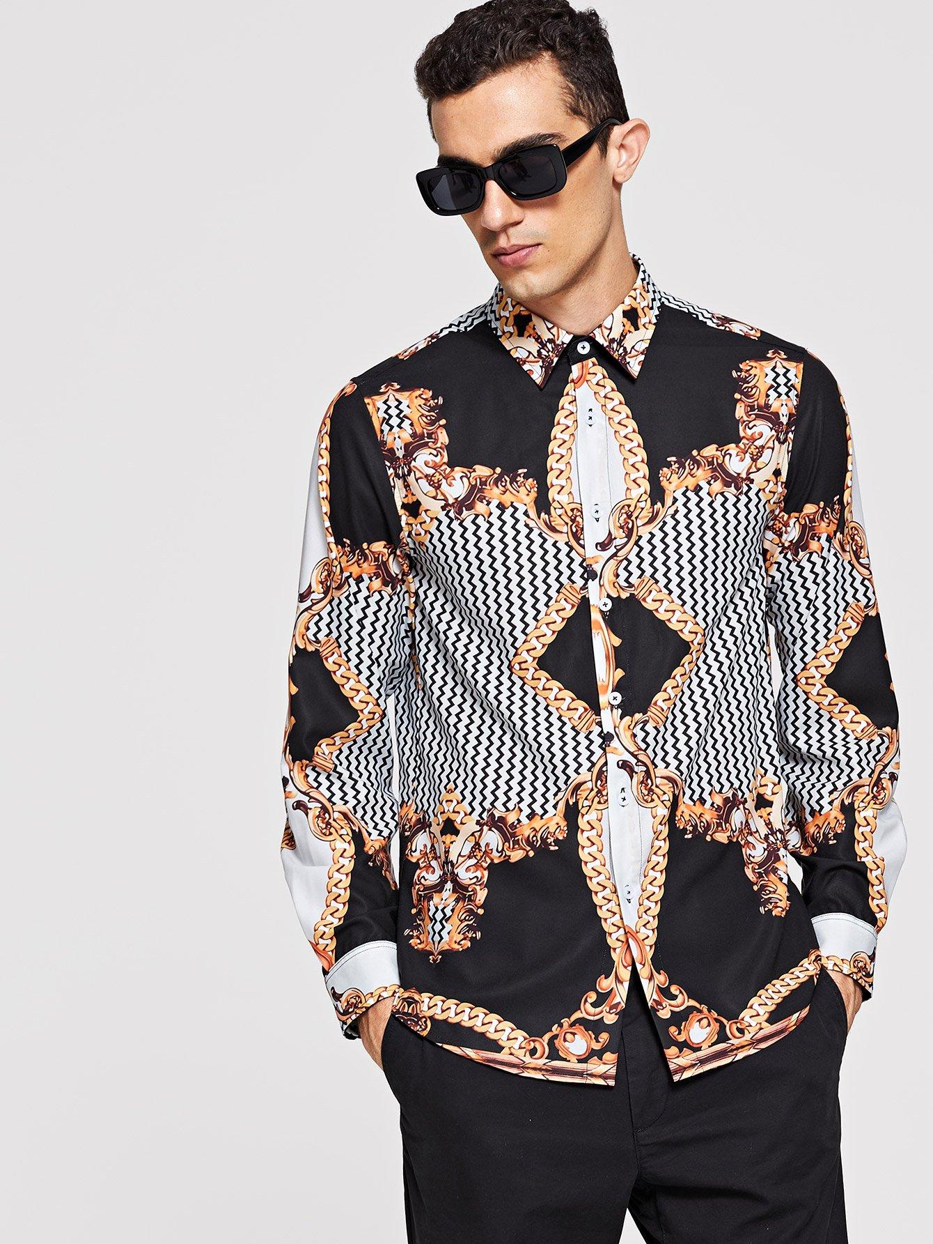 Купить Для мужчин рубашка со смешанным принтом, Lucas, SheIn