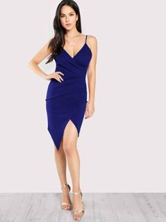 Surplice Ruched Overlap Slit Cami Dress