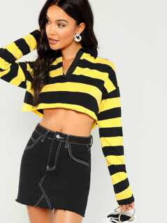 Striped Crop Long Sleeve Polo Sweatshirt