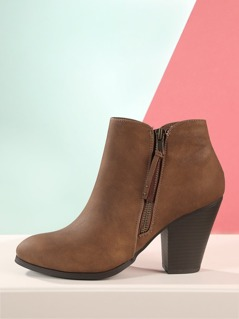 Side Zipper Distressed Stacked Heel Ankle Booties