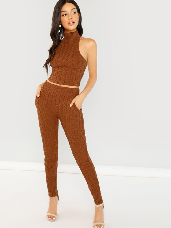 fe3eeb548520b3 Cable Knit Halter Neck Tank Sweater And Pants Set