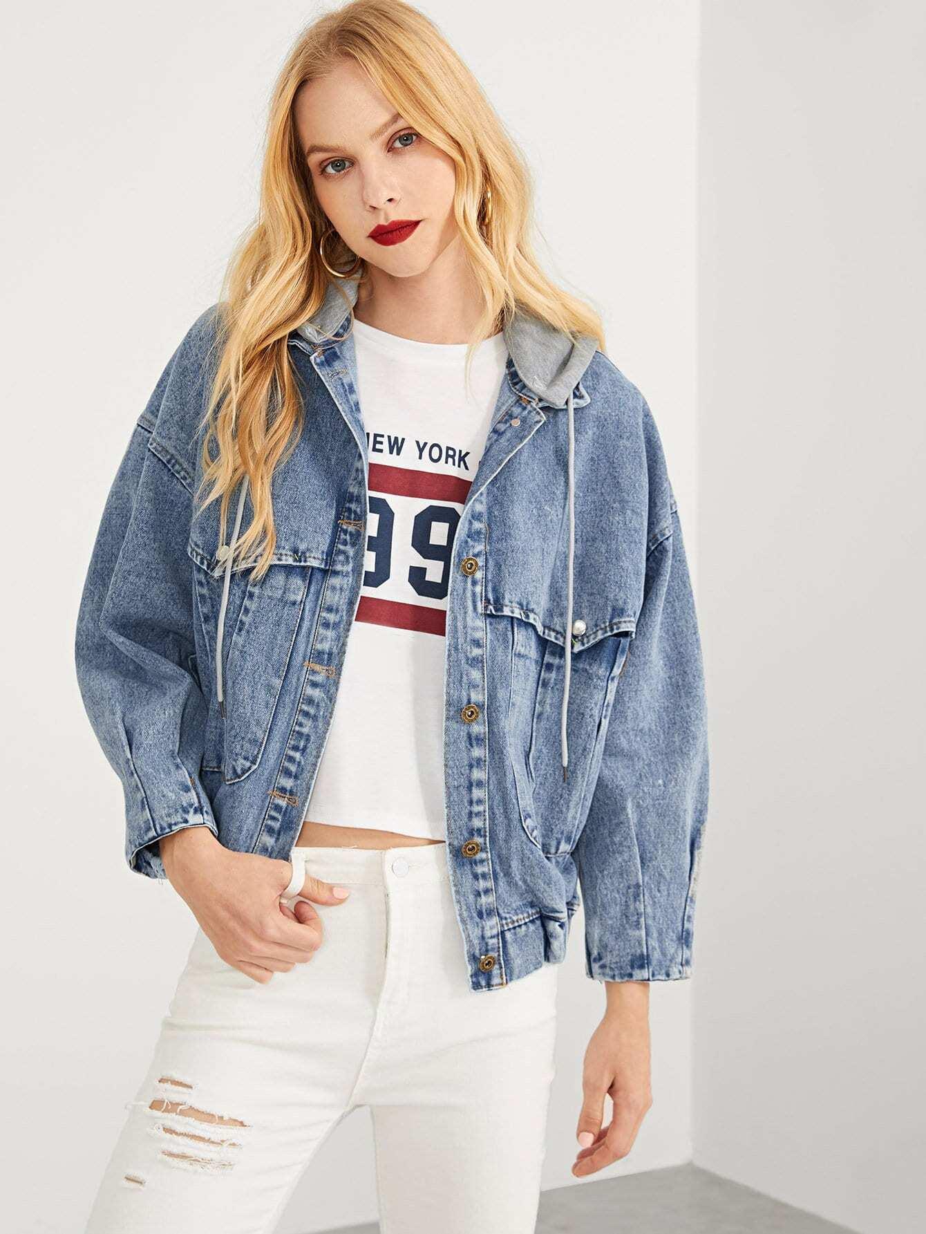 Белённая джинсовая ветровка с капюшоном SheIn