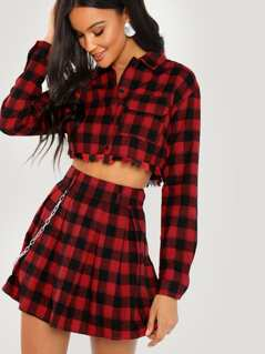 Pleated Plaid Flare Mini Skirt With Chain Detail