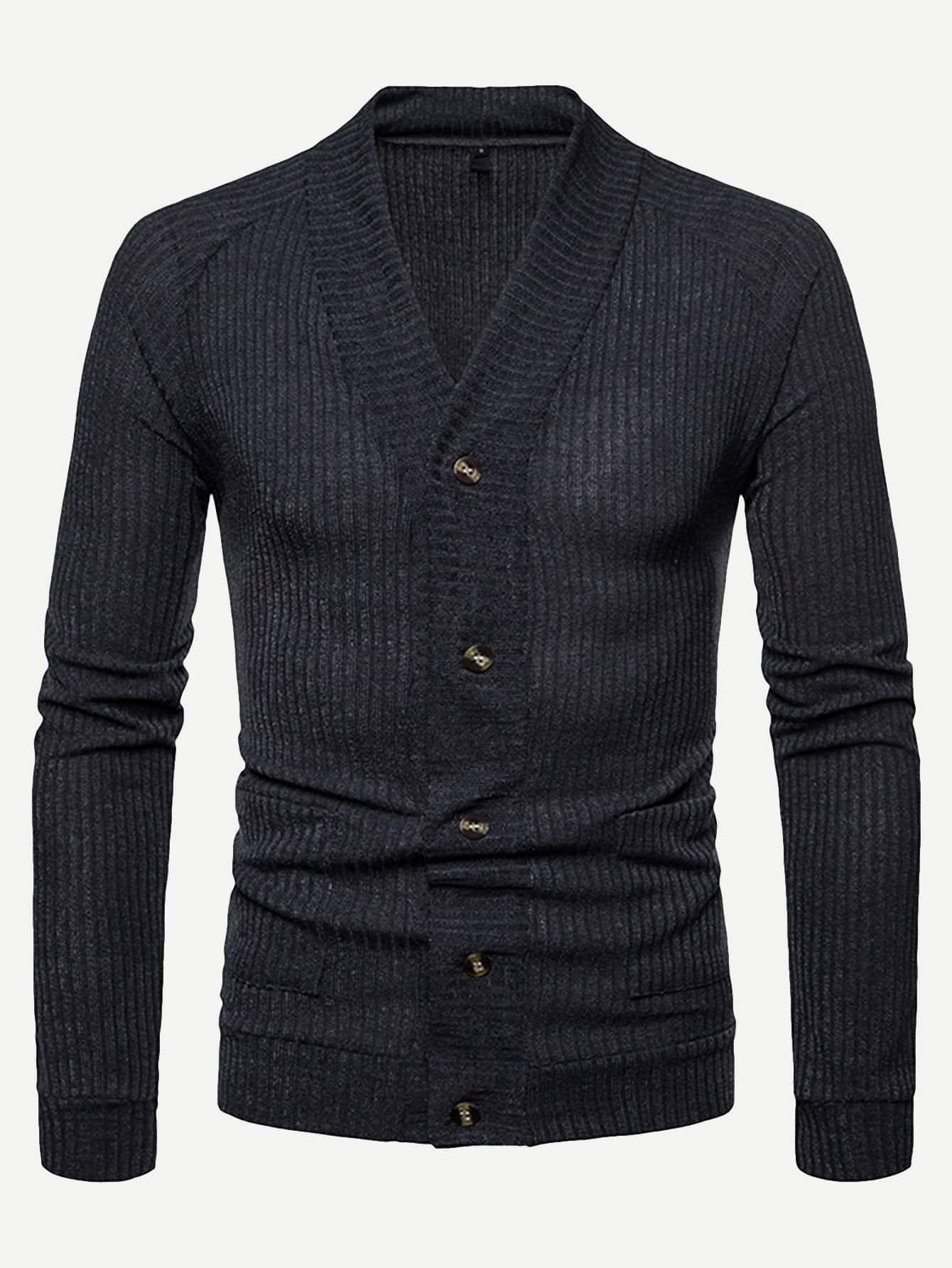 Купить Мужское простое пальто-фуфайки с рельефными узорами, null, SheIn