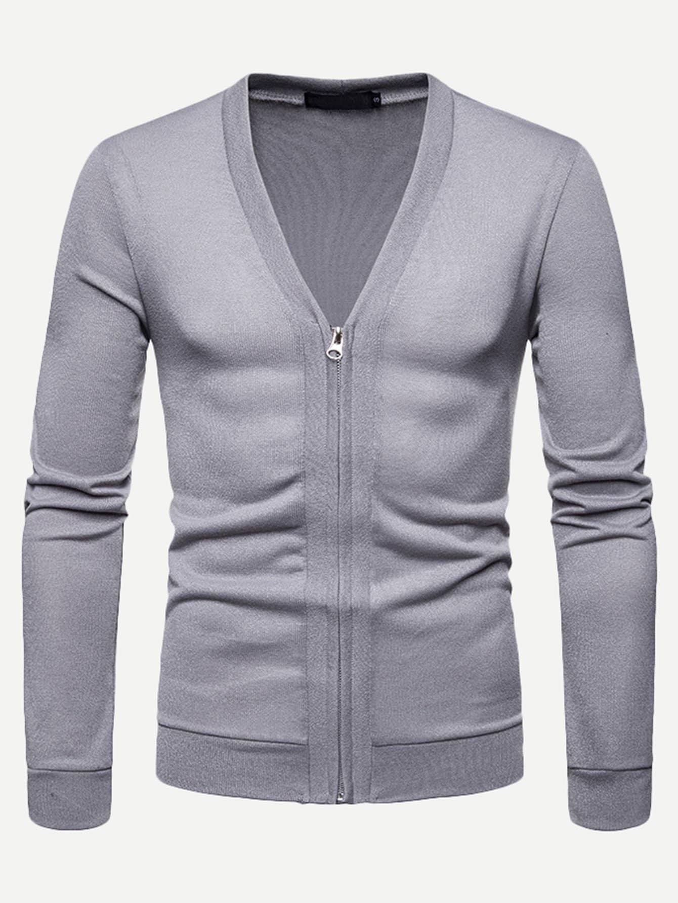 Купить Мужское простое пальто-фуфайки с застёжкой молния, null, SheIn