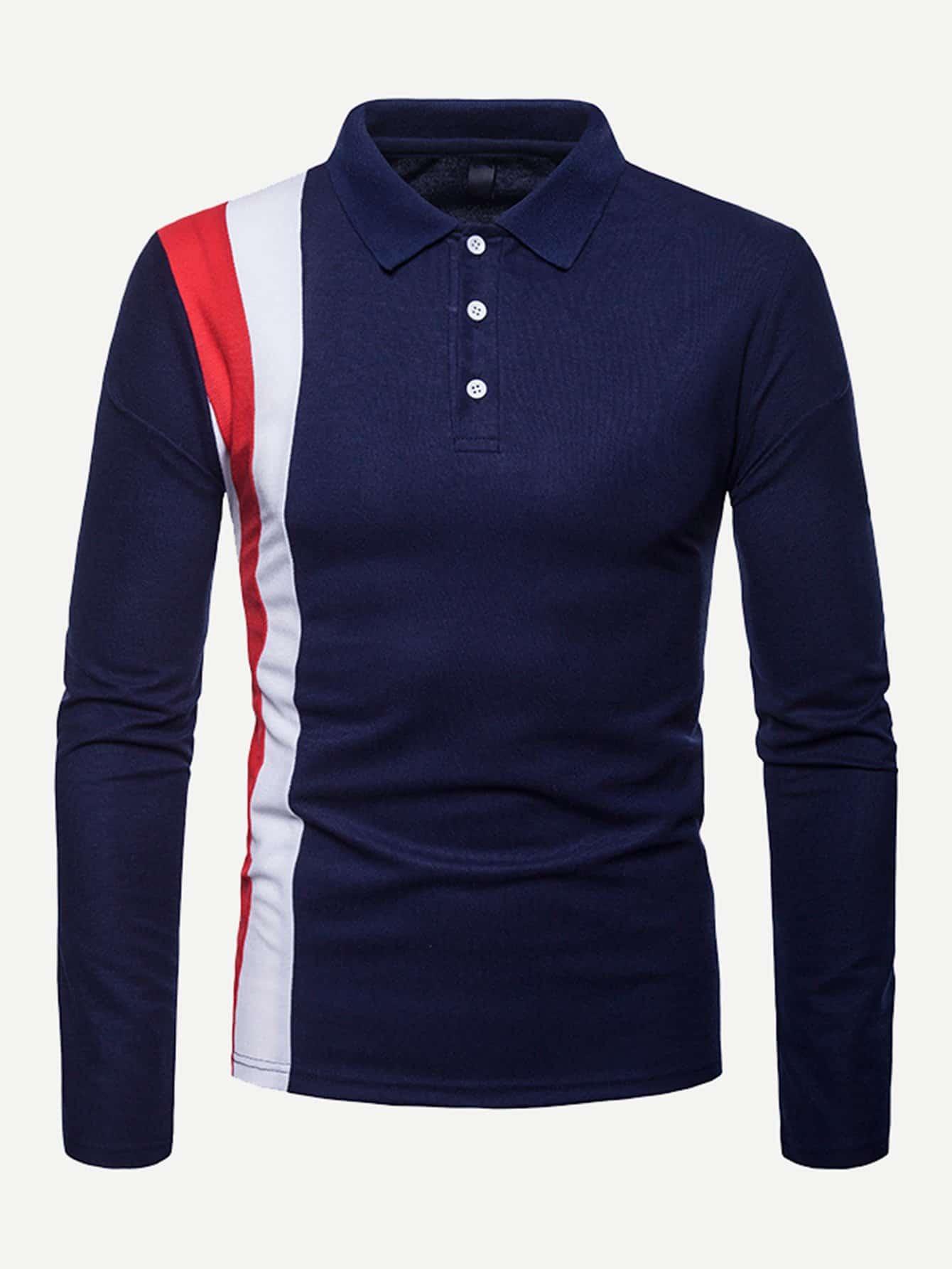 Купить Мужская контрастная поло футболка, null, SheIn