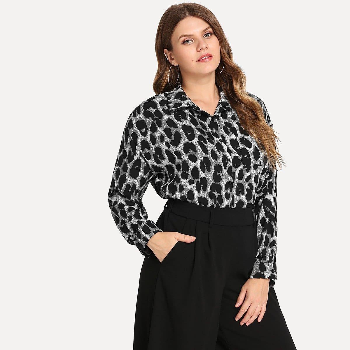 Luipaardprint blouse met knoopsluiting