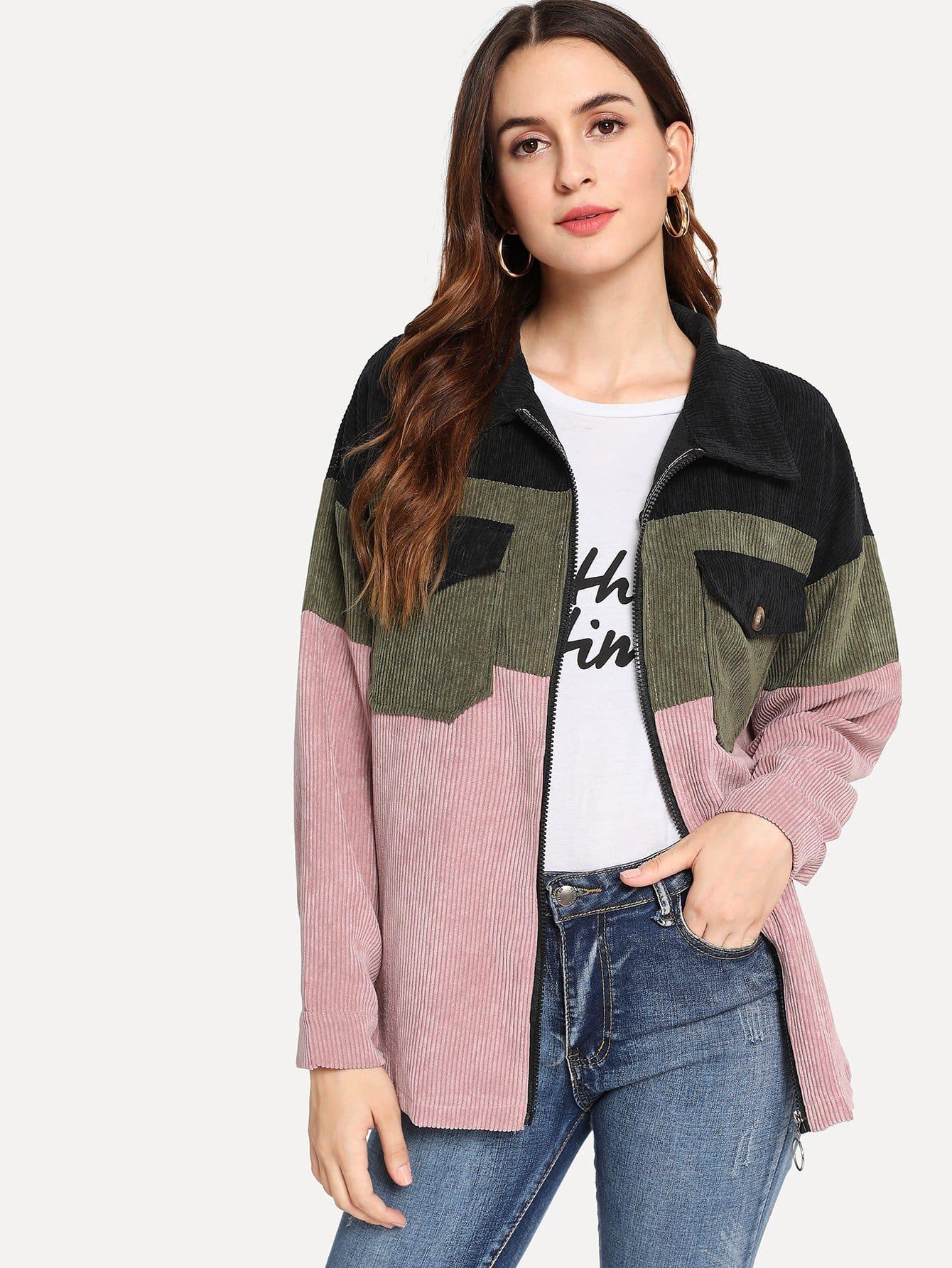 Купить Многоцветный на молнии Повседневный стиль Пальто, Jana, SheIn
