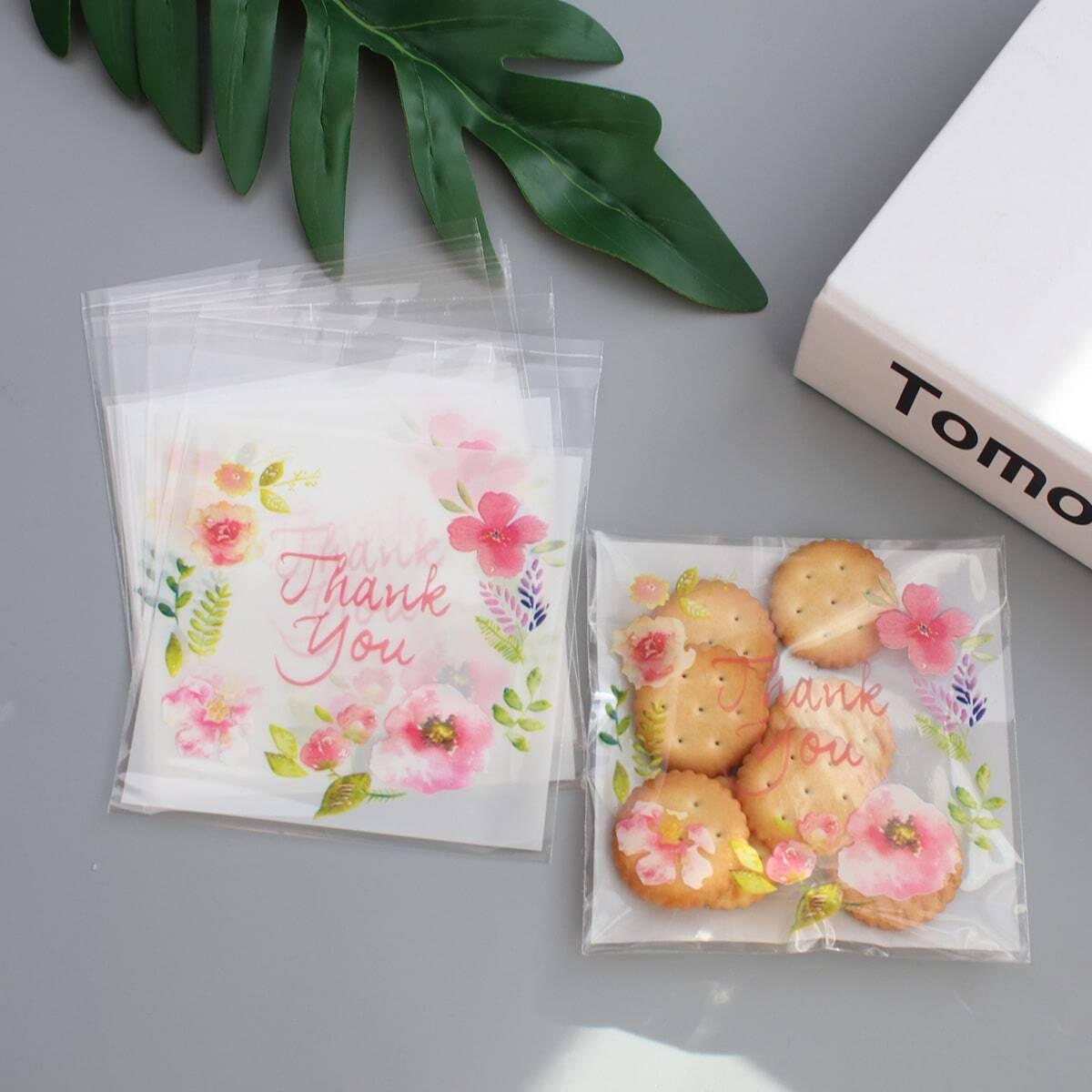 Bloemenprint verpakkingstas 100 stks