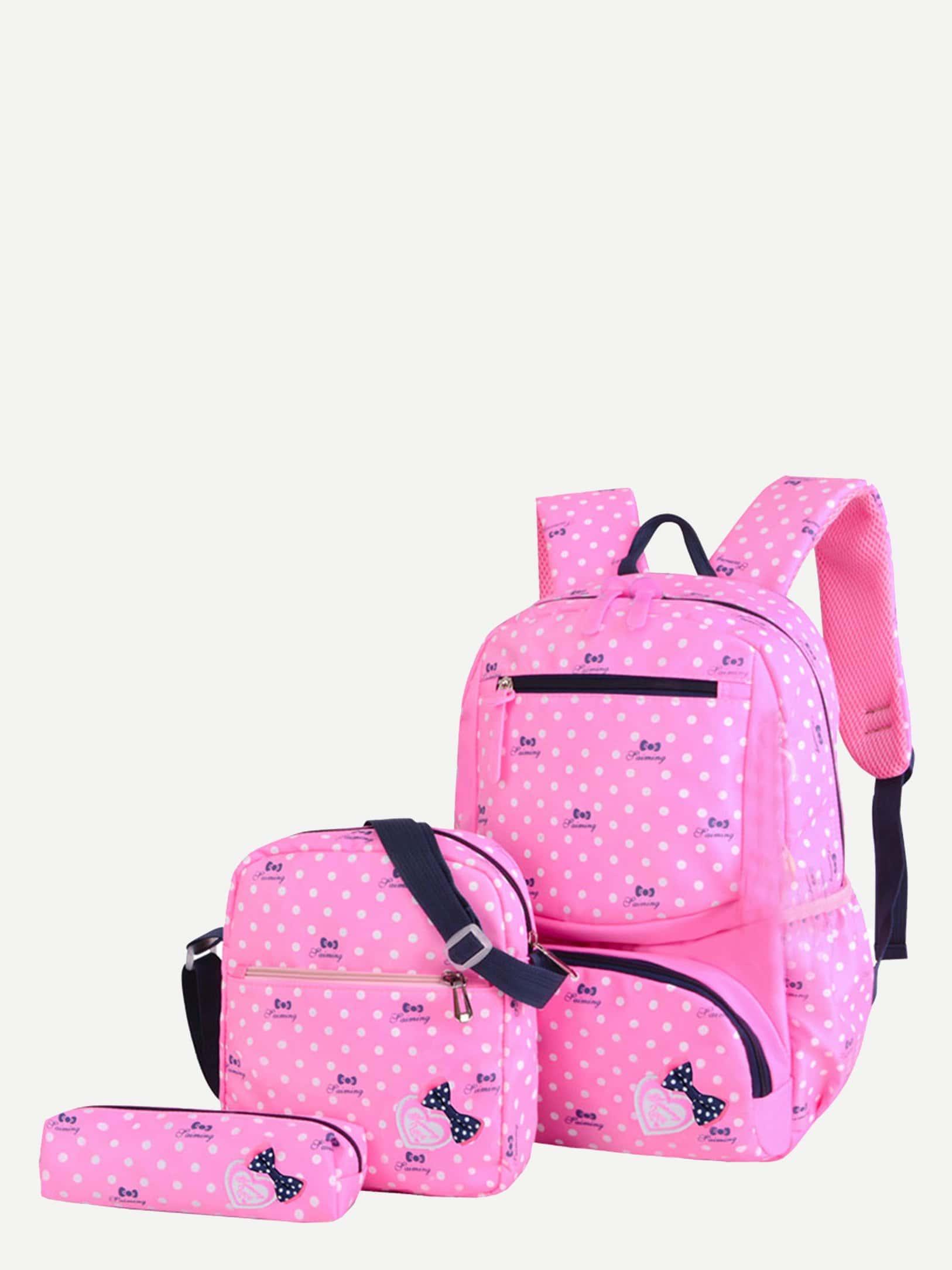 Купить 3шт.Детский рюкзак в горошек с коробкой для карандашей, null, SheIn