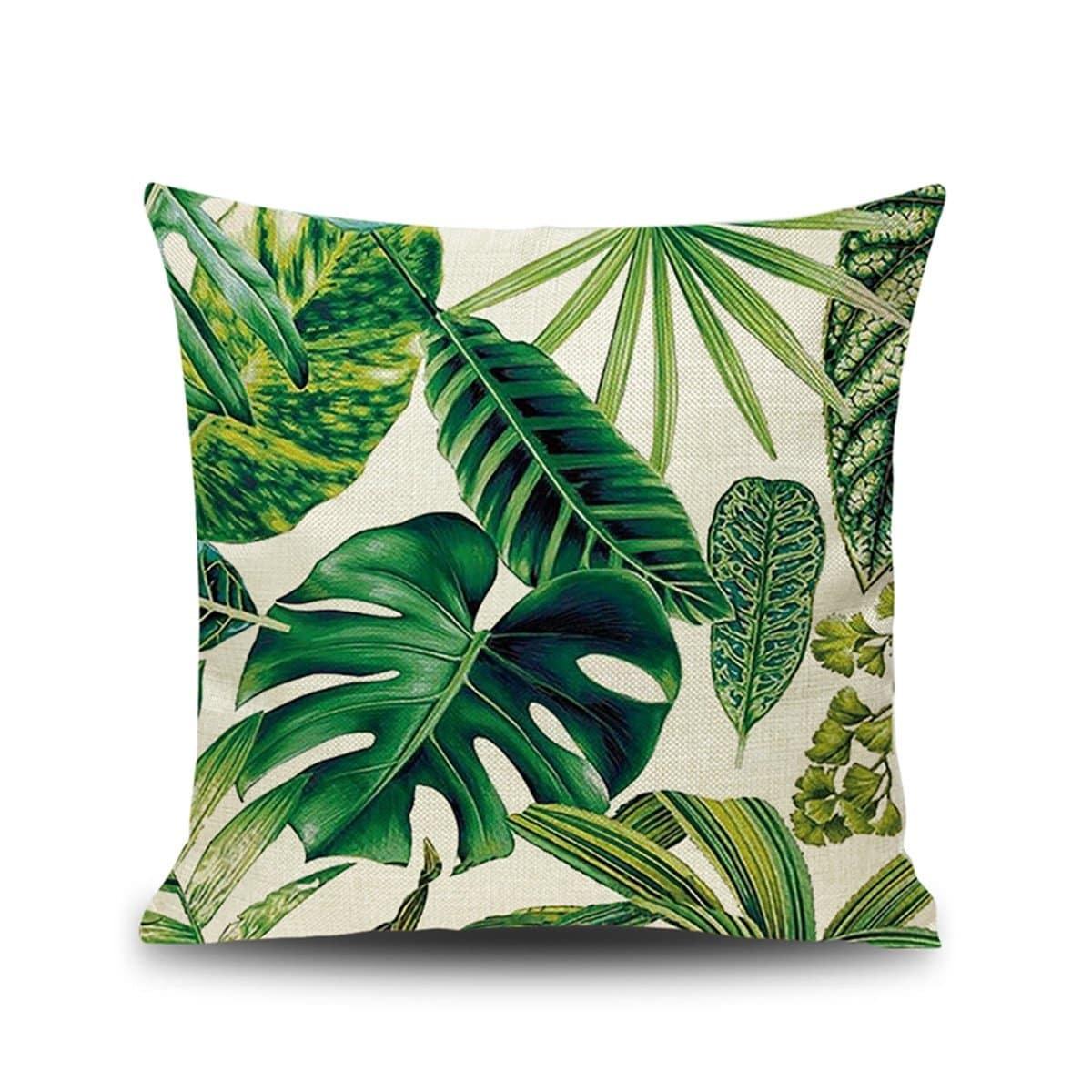 Tropische blad print kussenhoes