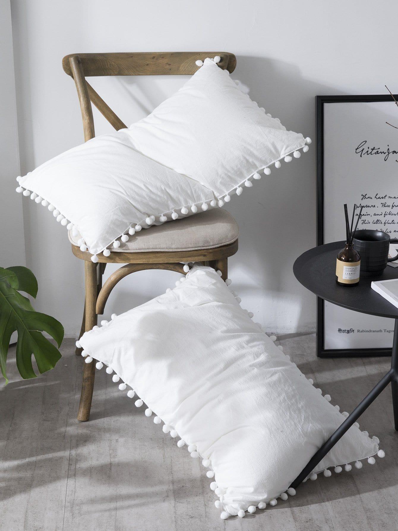 Купить Твердая набивка подушки с помпоном 1шт., null, SheIn