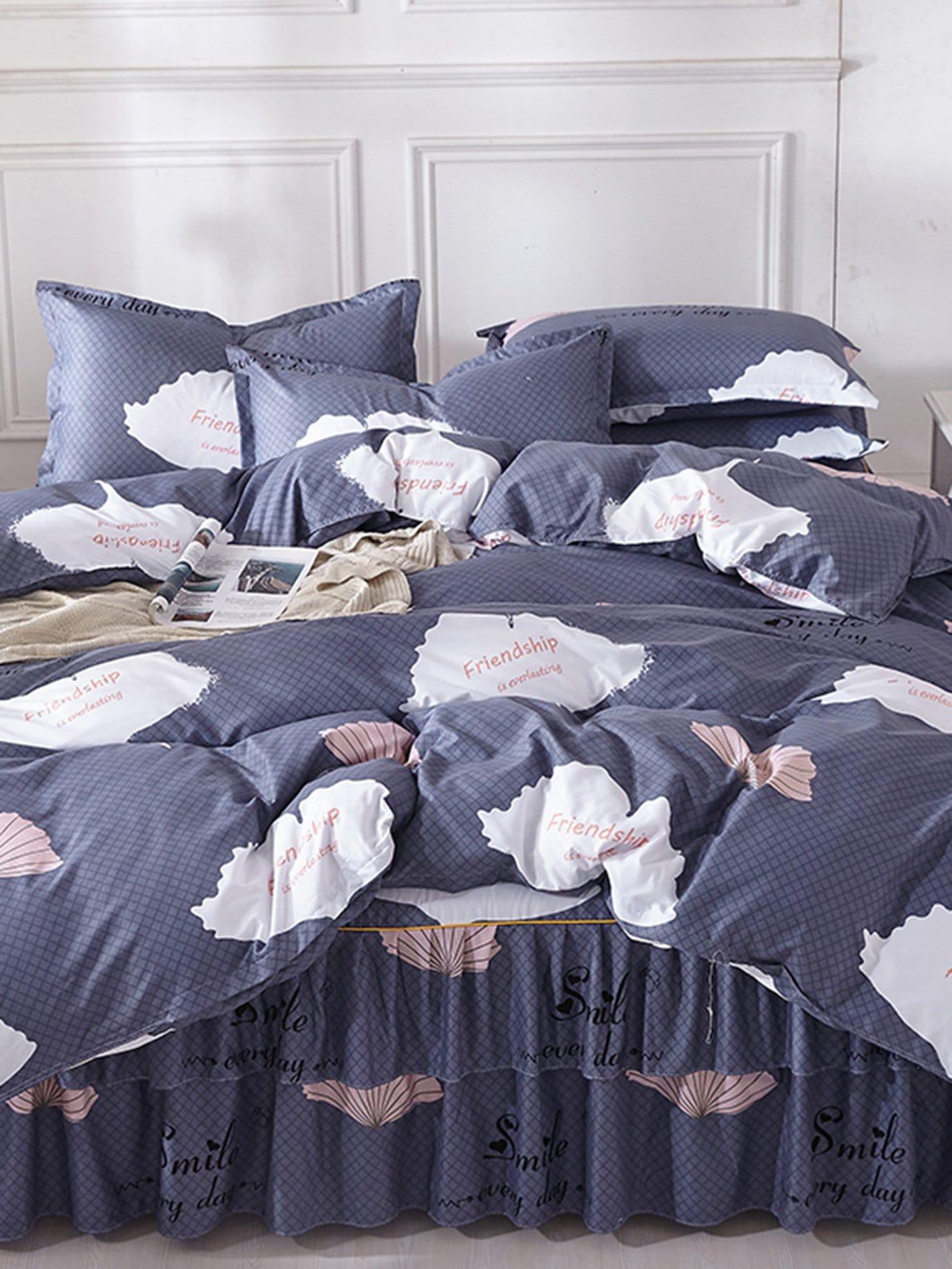 Купить Комплект постельного белья с принтом листа, null, SheIn