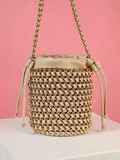 Woven Chain Drawstring Crossbody Bucket Bag