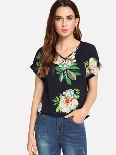 Roll Up Sleeve Floral Top