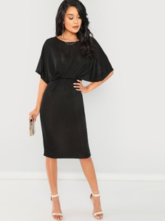 Dolman Sleeve Twist Front Split Dress