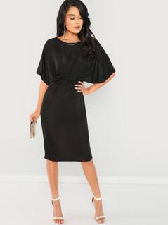 Dolman Sleeve Twist Front Split Dress