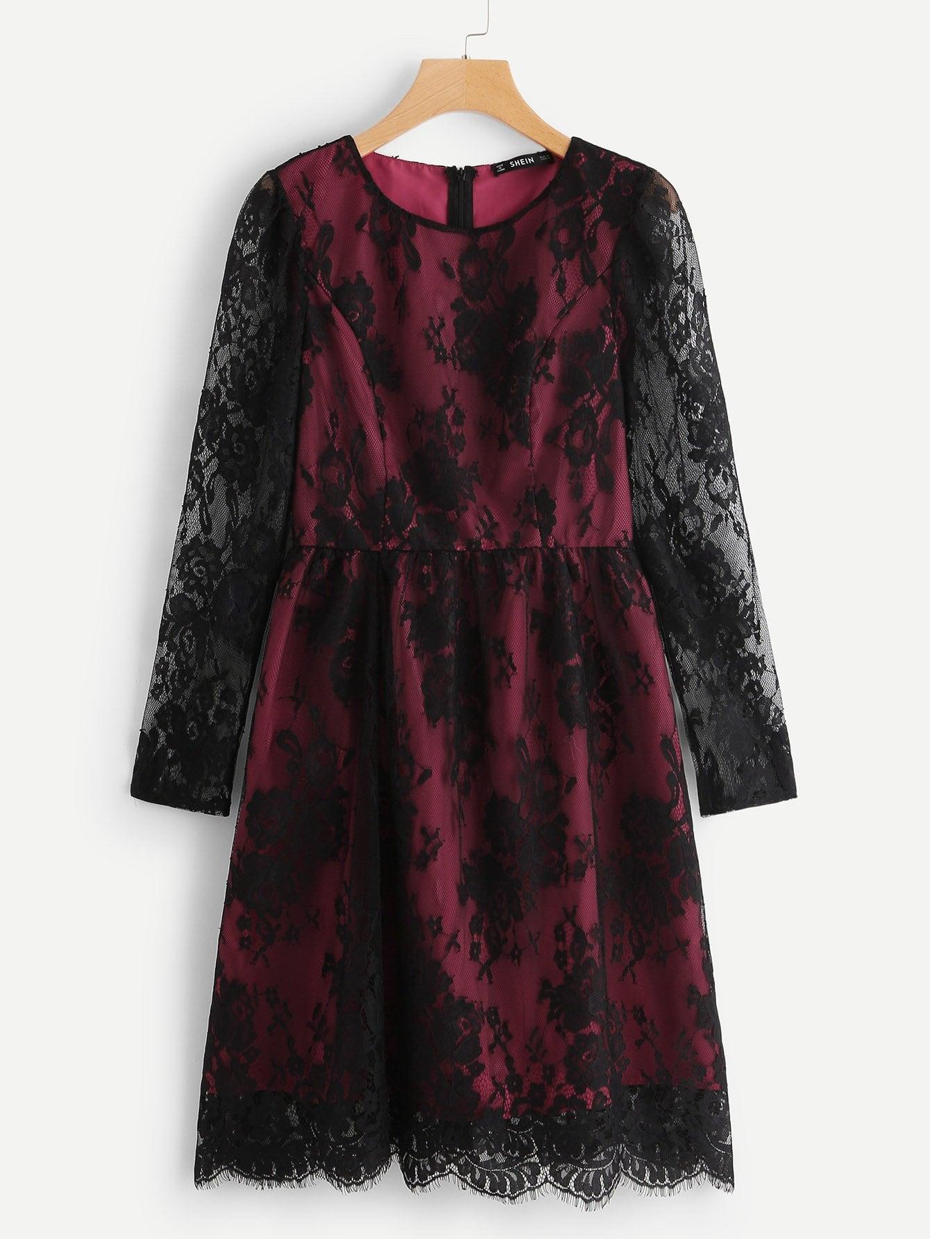 Купить Прозрачное платье со симметрическими кружевами, null, SheIn
