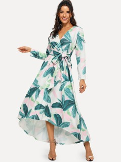 Palm Leaf Print Surplice Wrap Dress