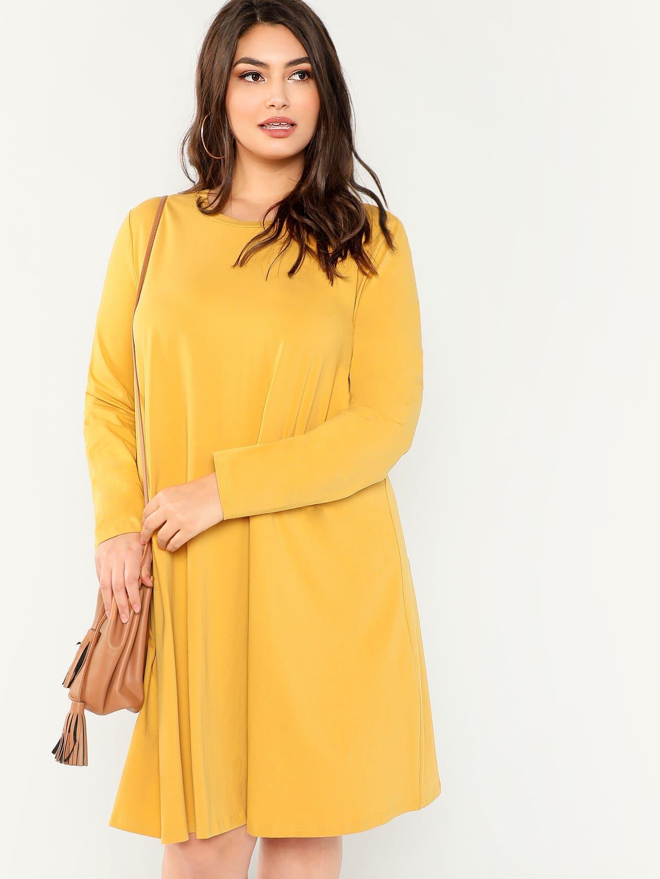 Плюс размеры твердое платье с круглым вырезом